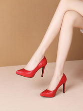 Load image into Gallery viewer, 9.5CM High Heel Platform Pointed Toe Leather Shoes