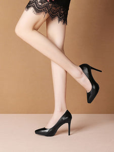 9.5CM High Heel Platform Pointed Toe Leather Shoes