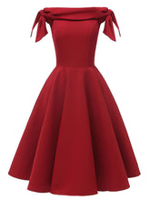 Load image into Gallery viewer, Wine Red 1950s Off Shoulder Bow Dress