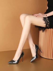 9.5CM High Heel Pointed Toe Sheep Skin Leather Shoes