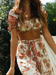2 Pieces Boho Outfits Cropped Floral Printed Beach Wear For Women