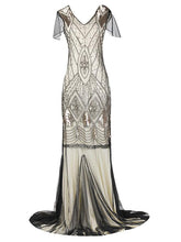 Load image into Gallery viewer, Green 1920s V Neck Sequined Long Flapper Dress
