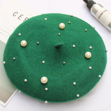 Load image into Gallery viewer, Women Pearl Stars Wool Felt Beret Hat Cap