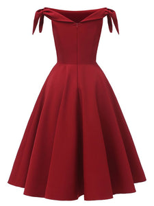 Wine Red 1950s Off Shoulder Bow Dress