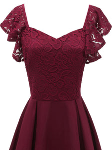 Solid Color Sweetheart  Lace Butterfly Sleeve A line Vintage Party Dress