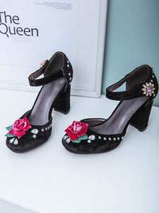 Luxury Velvet Rose Flower Chunky Heels Retro Shoes