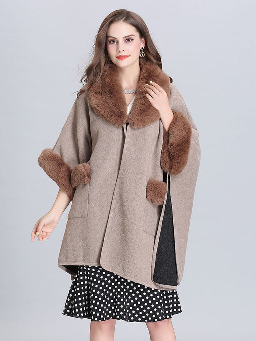 Poncho Knitwear Women Faux Fur Coat Shawl Collar Sweaters