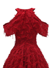 Load image into Gallery viewer, Autumn Sweet Fringed Off the Shoulder 50s Dress