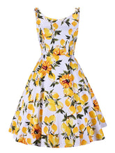 Load image into Gallery viewer, Bow Yellow Lemon 1950S Dress