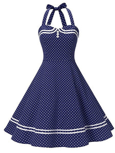 1950S Polka Dots Halter Sailor Style Dress