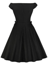 Load image into Gallery viewer, Black 1950S Bow V Neck A Line Vintage Dress