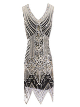 Load image into Gallery viewer, Gold 1920s V Neck Sequined Flapper Dress