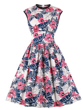 Load image into Gallery viewer, Pink Flowers Sleeveless High Waist Vintage Cotton 1950S Dress