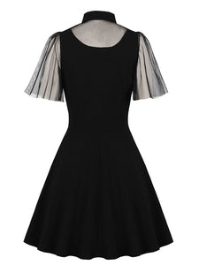 Black Tailored Collar Semi-sheer Short Sleeve Dress