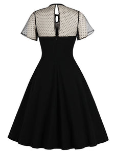 With Pocket Semi-Sheer A Line Black 50S Dress