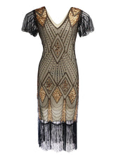 Load image into Gallery viewer, Navy 1920s V Neck Sequined Flapper Dress
