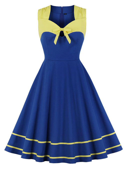 Bow 1950s Vintage Swing Dress