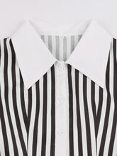 Load image into Gallery viewer, Beetlejuice Costume Black and White Vertical Stripe Swing Dress With Tie