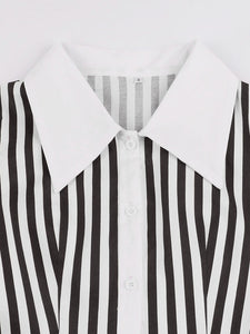 Beetlejuice Costume Black and White Vertical Stripe Swing Dress With Tie