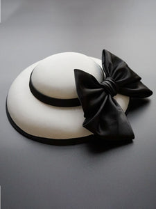 Big Sweet Bow Satin Vintage Audrey Hepburn Same Style 1950S Hat