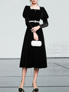 Black Square Collar Puff Long Sleeve  Vintage Velvet Dress