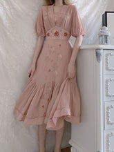 Load image into Gallery viewer, Embroidered Rose Puff Sleeve Vintage Chiffon Dress