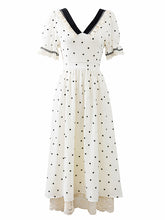 Load image into Gallery viewer, Lace V Neck Polka Dots Puff Sleeve Vintage Dress