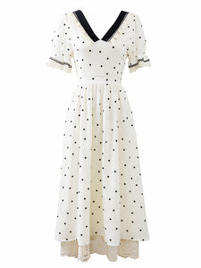 Lace V Neck Polka Dots Puff Sleeve Vintage Dress
