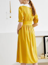 Load image into Gallery viewer, Yellow Chelsea Collar Puff Sleeve Vinatge Dress