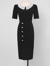 Load image into Gallery viewer, The Queen's Gambit Similar Style 1960S Dress Black Lace Collar Slit Vintage Dress
