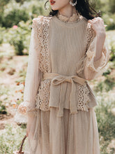Load image into Gallery viewer, Romantic Fall Long Sleeve Vintage Knitting Vest Dress Set