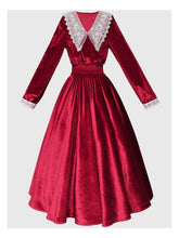 Load image into Gallery viewer, Vinatge Red Lace Long Sleeve Swing Velvet Dress