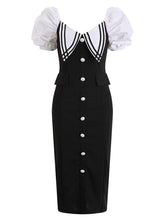 Load image into Gallery viewer, Black Puff Sleeve Buttons Pencil Dress