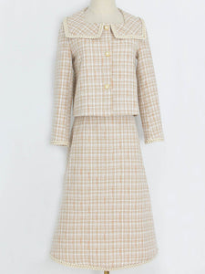 Tweed Plaid Fall Long Sleeve Vintage Coat Set Dress