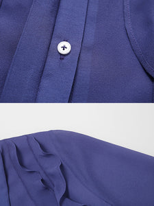 Blue Turndown Collar Ruffles 1940S Dress