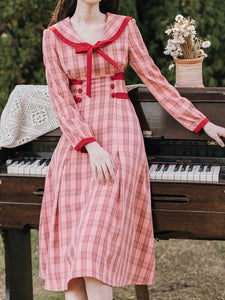 Pink Sailor Collar Long Sleeve Swing Dress
