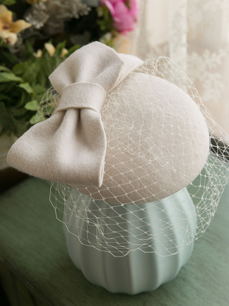 Big Bow Tulle Vintage Wool 1950S Hat