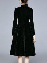 Load image into Gallery viewer, Christmas Black Classic Long Sleeve 1950S Velvet Party Dress