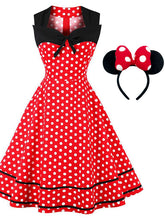 Load image into Gallery viewer, Minnie 1950s Polka Dot Swing Dress