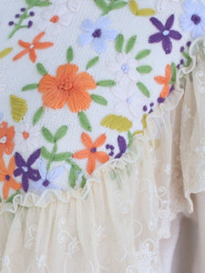 Embroidered Flower Puff Sleeve Vintage Knitting Sweater Dress