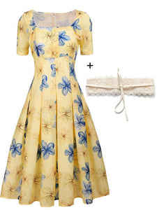 The Marvelous Mrs.Maisel Same Style Yellow Floral Swing 50S Dress With Lace Belt