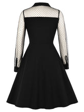 Load image into Gallery viewer, Black 1950s  Lace Sleeve   A Line Vintage Dress
