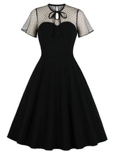 Load image into Gallery viewer, With Pocket Semi-Sheer A Line Black 50S Dress