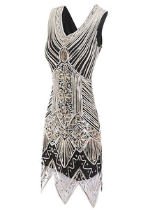 Gold 1920s V Neck Sequined Flapper Dress