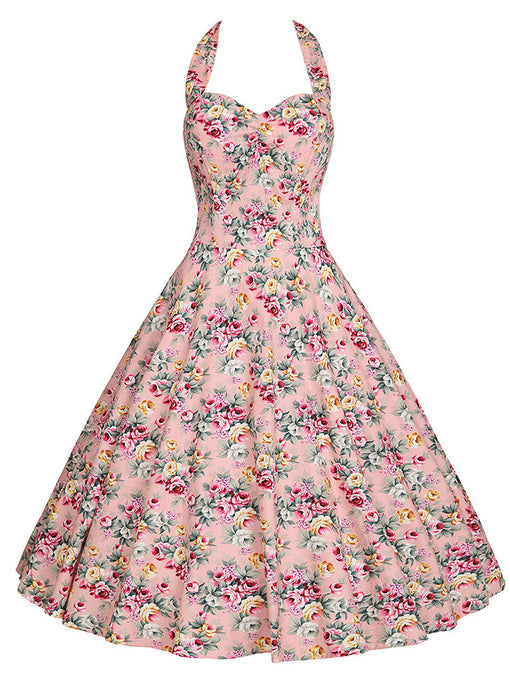 Sweet Rose Cotton 50s Swing Dress