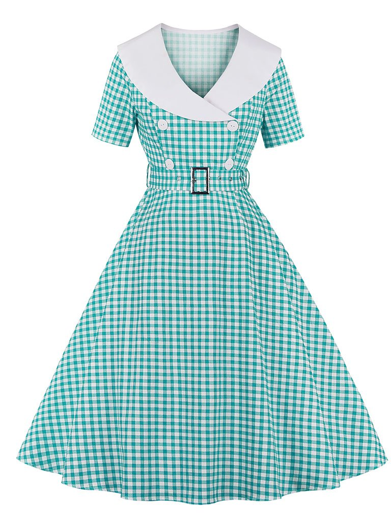 Sailor Collar 1950S Vintage plaid Swing Dress