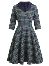 Load image into Gallery viewer, Plaid Turn Collar 1950S Swing Vintage Dress With Button