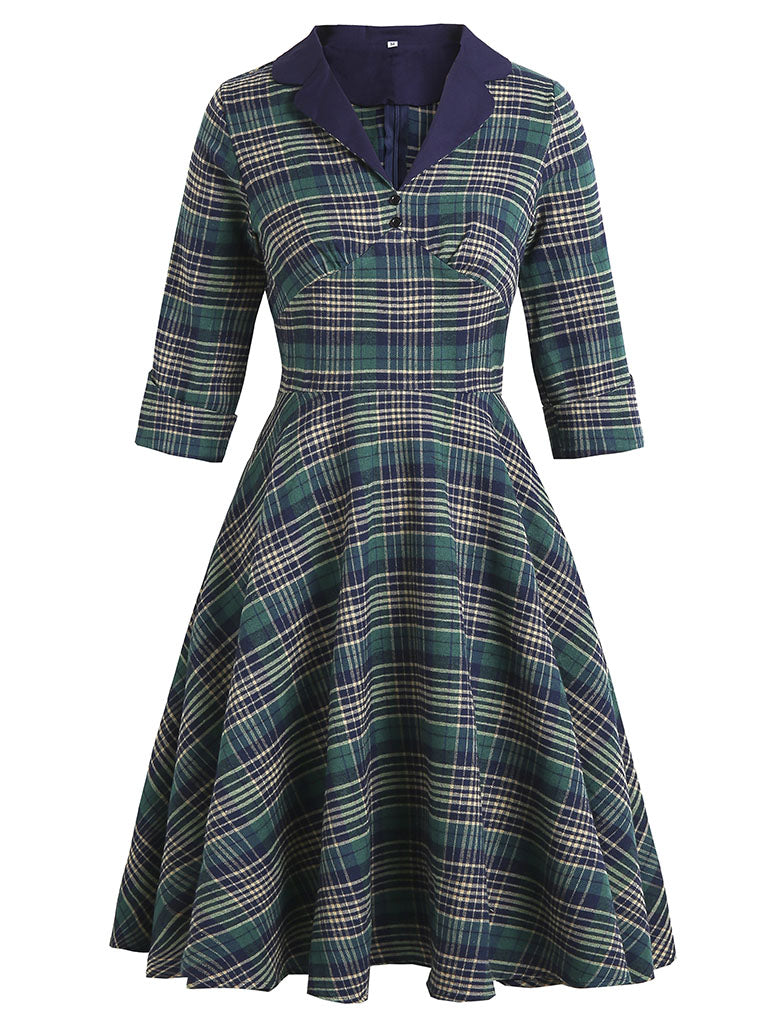 Plaid Turn Collar 1950S Swing Vintage Dress With Button