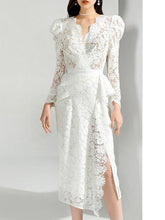 Load image into Gallery viewer, Christmas White V Neck Long Sleeve 1950S Lace Vintage Bodycon Dress