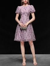 Load image into Gallery viewer, 1960S Purple Puff Sleeve Organza Dress
